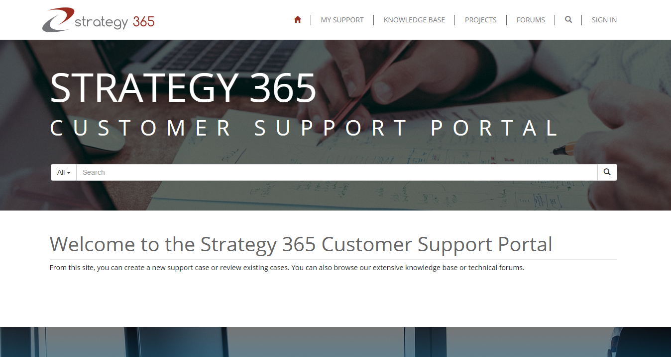 Strategy 365 Customer Portal
